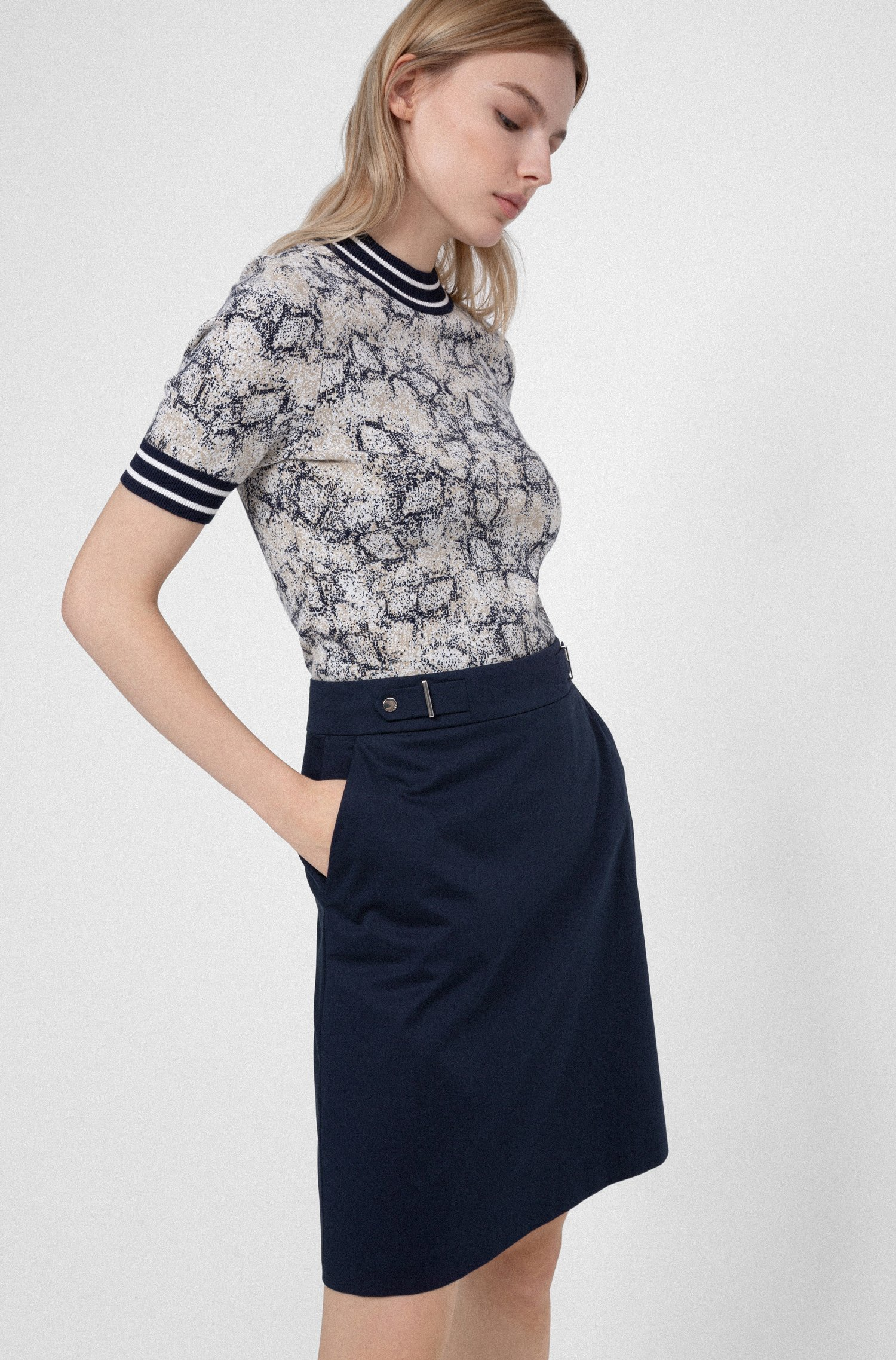 Stretch-cotton A-line skirt with waistband detail, Dark Blue