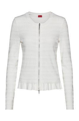 Zip-through knitted jacket with frilled peplum hem, White