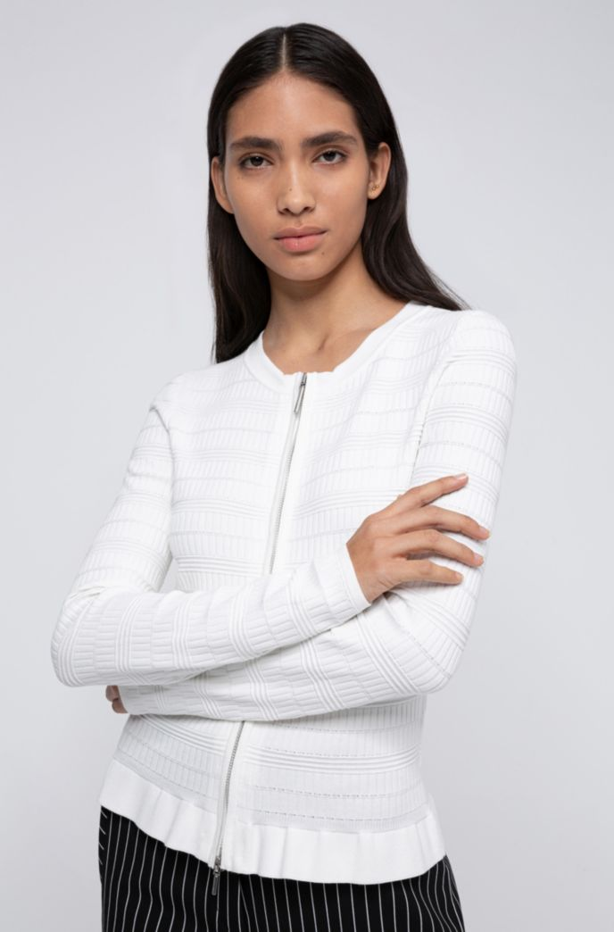 Zip-through knitted jacket with frilled peplum hem