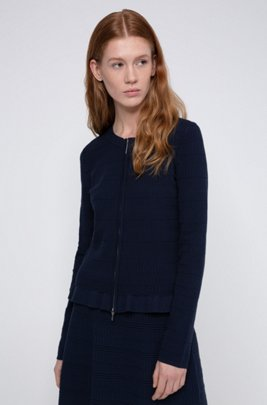 Zip-through knitted jacket with frilled peplum hem, Dark Blue
