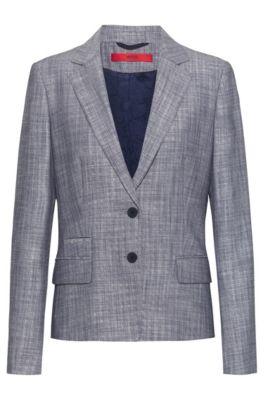 Veste Regular Fit en tissu chiné avec doublure à motif, Bleu