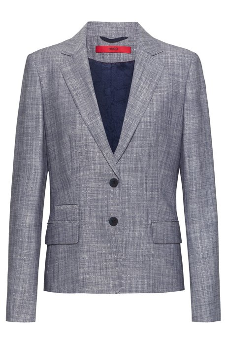 Regular-fit jacket in melange fabric with patterned lining, Blue