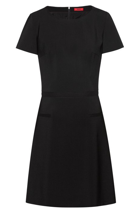 A-line dress in stretch wool with ribbon detail, Black