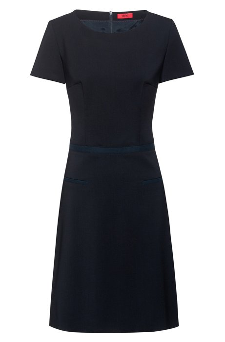 A-line dress in stretch wool with ribbon detail, Dark Blue
