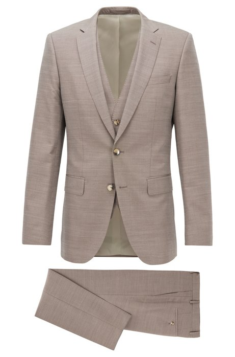 Slim-fit three-piece suit in wool and silk, Beige