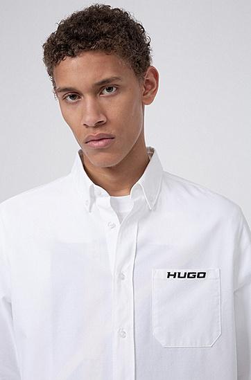 HUGO '93 印花宽松版型牛津棉衬衫,  199_淡白色