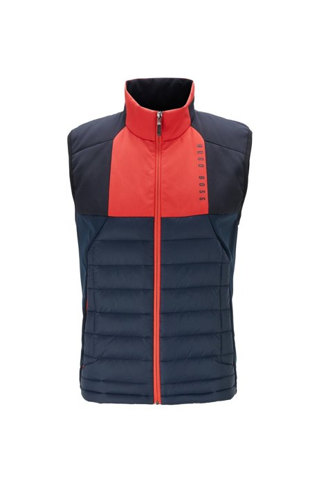 Water-repellent gilet with colour-block panelling, Dark Blue