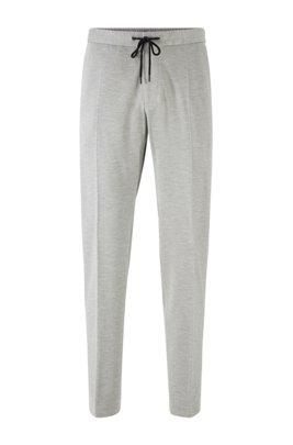 Pantaloni slim fit in tessuto elasticizzato con elastico in vita, Grigio