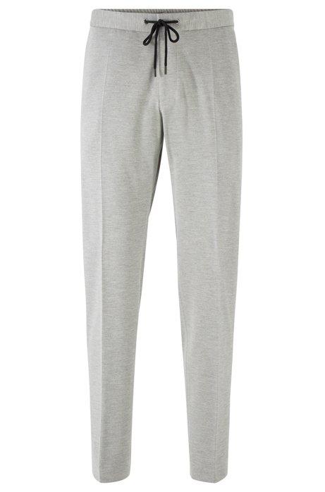 Pantalon Slim Fit en tissu stretch à taille élastique, Gris