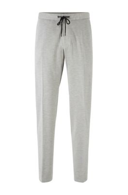 Slim-fit trousers in stretch fabric with elasticated waistband, Grey