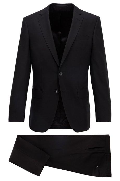 Slim-Fit Anzug aus gemustertem Schurwoll-Serge, Schwarz