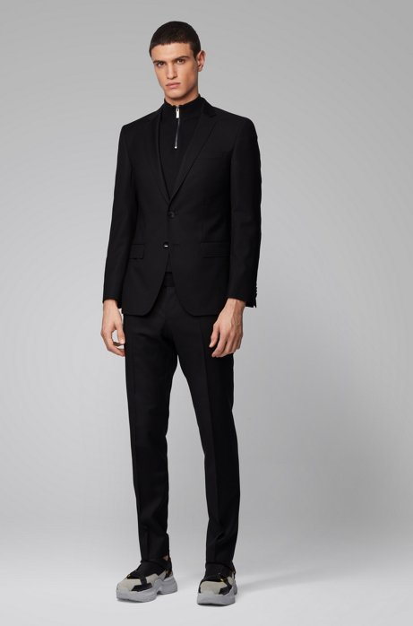 Slim-fit suit in patterned virgin-wool serge, Black