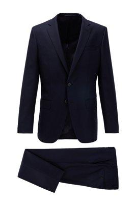 Slim-Fit Anzug aus gemustertem Schurwoll-Serge, Dunkelblau
