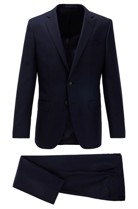 Slim-fit suit in patterned virgin-wool serge, Dark Blue