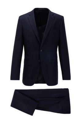 Traje slim fit en sarga de lana virgen estampada, Azul oscuro