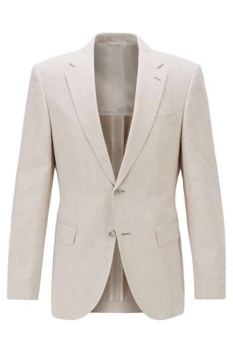 Regular-fit jacket in cotton-linen blend , Light Beige