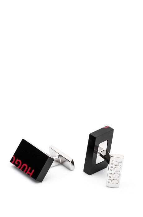 Cropped-logo cufflinks in coloured enamel and brass, Black
