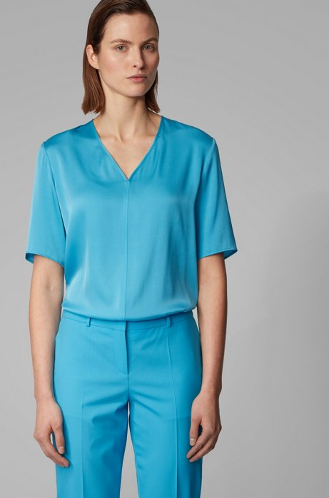 Regular-fit blouse in silk-blend crepe de Chine, Turquoise