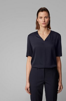 Regular-fit blouse in silk-blend crepe de Chine, Dark Blue