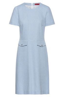 Short-sleeved dress in a patterned stretch-cotton blend, Light Blue