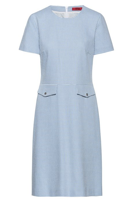 Robe à manches courtes en coton stretch mélangé à motif, Bleu vif
