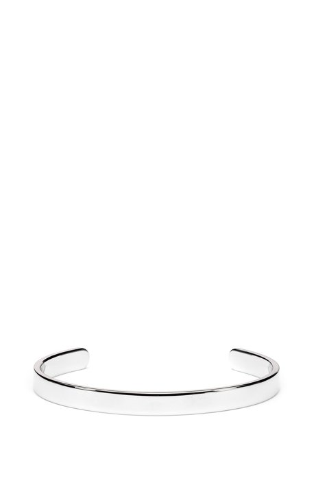Polished stainless-steel cuff with red logo, Silver
