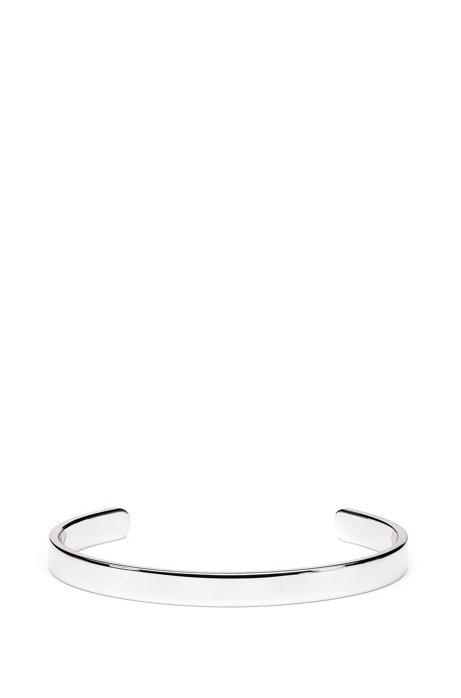 Bracelet en acier inoxydable poli avec logo rouge, Argent