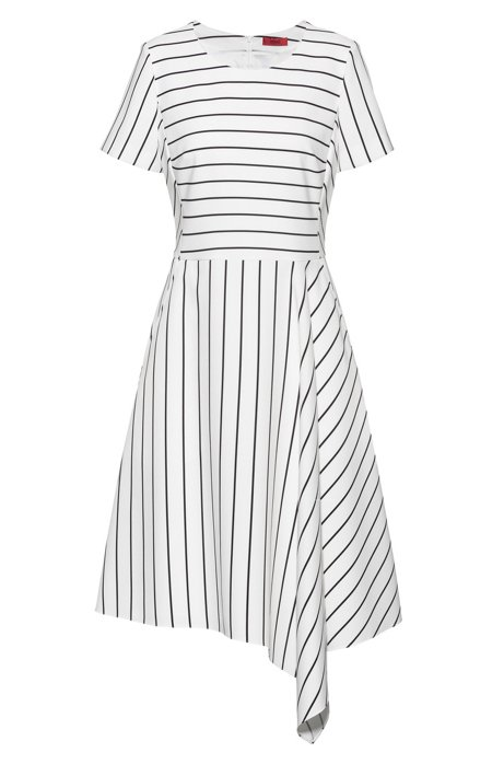 Striped-fabric dress with asymmetric hem and rear zip, White