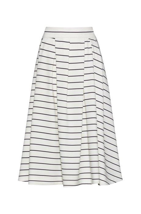 Rok in A-lijn, van stretchmateriaal met een streepprint, Wit
