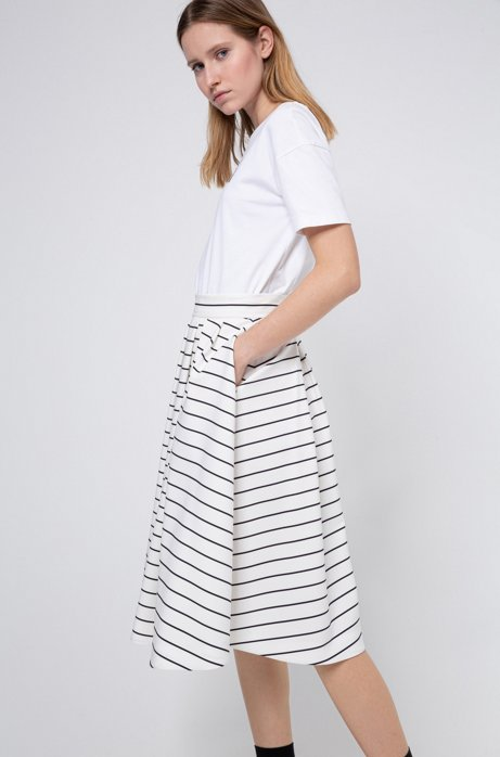 A-line skirt in stripe-print stretch fabric, White