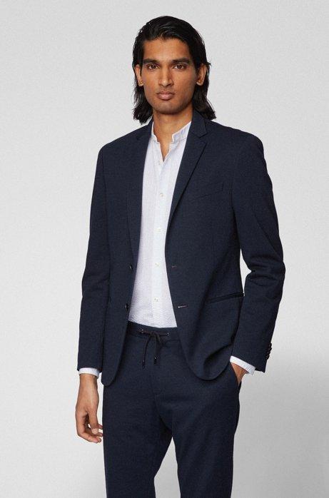 Veste Slim Fit en jersey de coton mélangé, Bleu foncé
