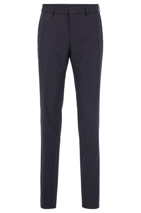 Pantalon Slim Fit en laine mélangée traçable et lavable, Bleu foncé