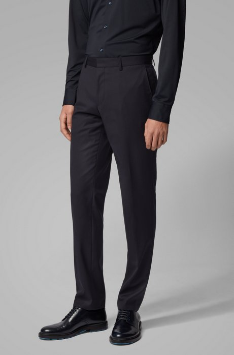 Slim-fit trousers in a washable traceable-wool blend, Dark Blue