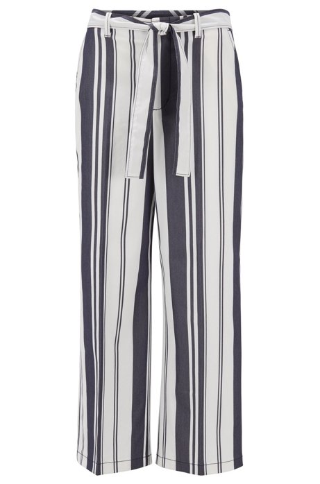 Wide-leg cropped trousers in mixed stripes with tie belt, Patterned