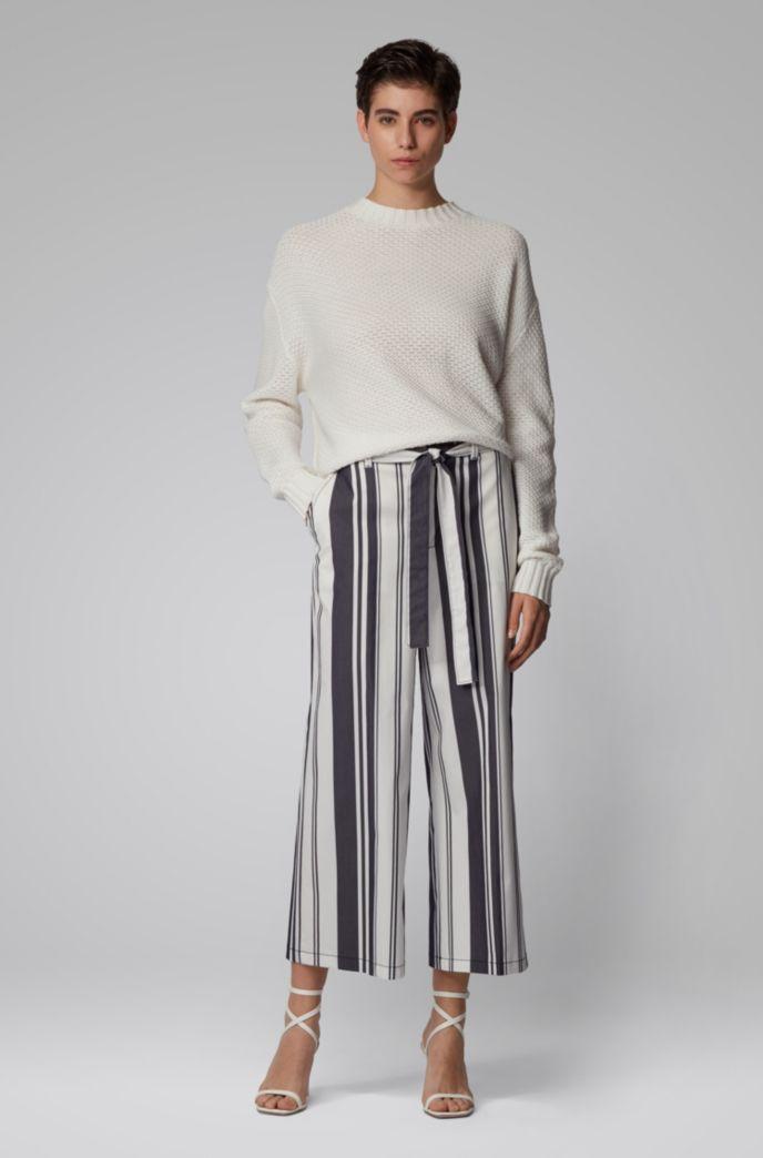 Regular-Fit Hose in Cropped-Länge mit Streifen-Mix und Bindegürtel