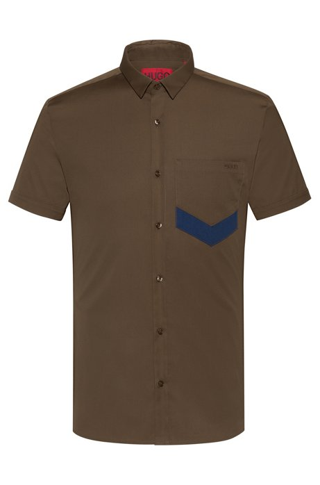 Extra-slim-fit short-sleeved shirt with chevron pocket, Green