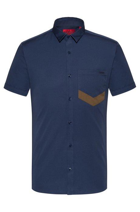 Extra-slim-fit short-sleeved shirt with chevron pocket, Dark Blue