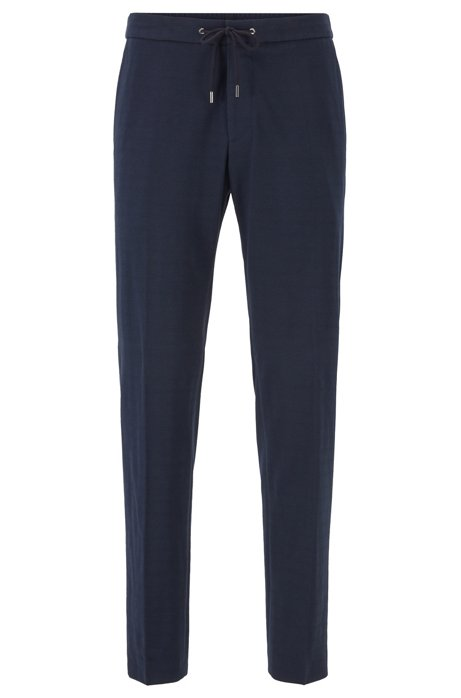 Slim-fit trousers with a drawcord waist, Dark Blue