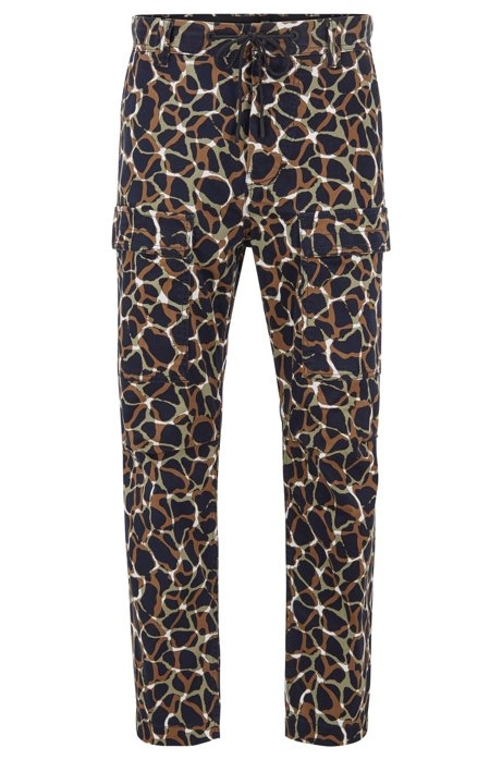 Relaxed-fit trousers in printed stretch cotton, Beige