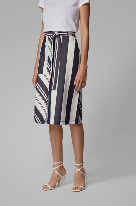 Mixed-stripe midi skirt in a stretch-cotton blend, Patterned