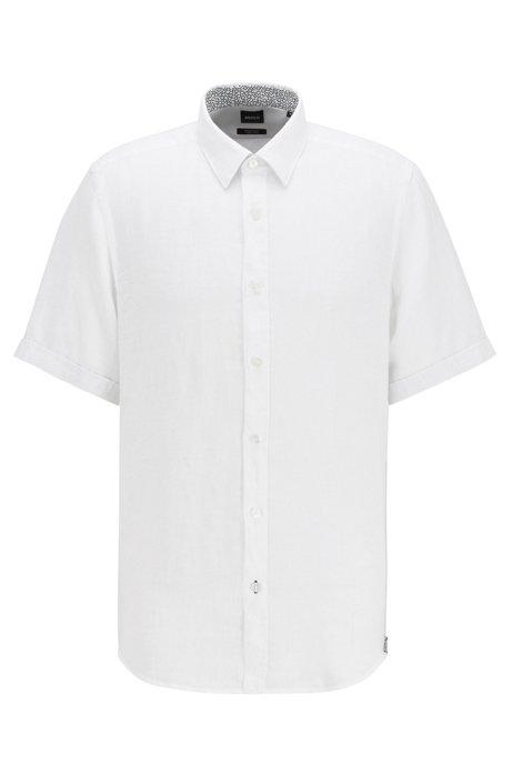 Camisa de mangas cortas regular fit en cambray de lino, Blanco