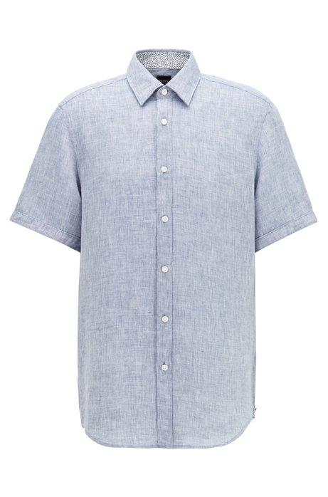 Short-sleeved regular-fit shirt in linen chambray, Dark Blue