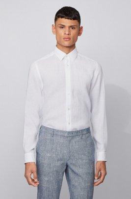 Regular-fit overhemd in een chambray van linnen, Wit
