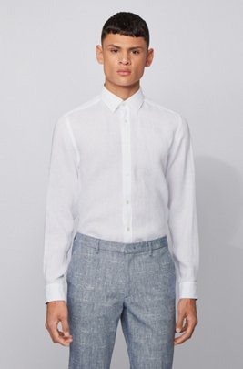 Regular-Fit Hemd aus Leinen-Chambray, Weiß