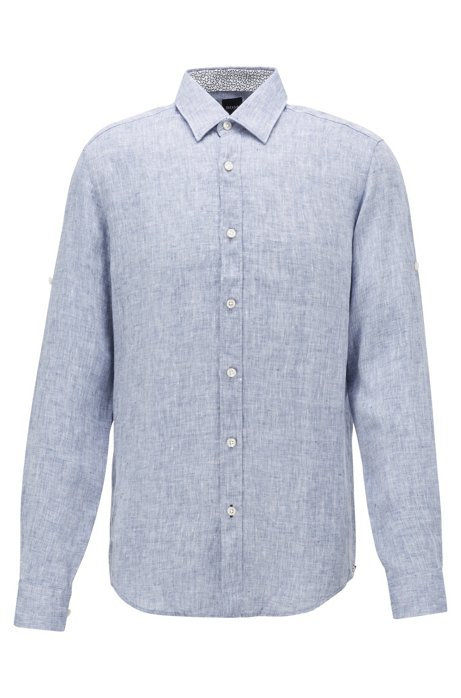Camicia regular fit in lino chambray, Blu