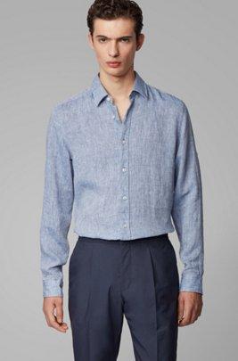 Camisa regular fit de cambray de lino, Azul