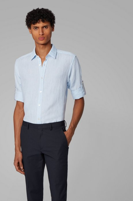 Regular-fit overhemd in een chambray van linnen, Lichtblauw