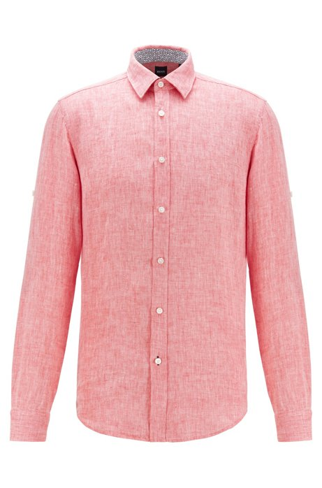 Regular-fit shirt in chambray linen, Red