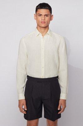Regular-fit overhemd in een chambray van linnen, Lichtgeel