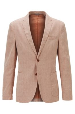 Slim-fit jacket in a stretch-linen blend, Orange